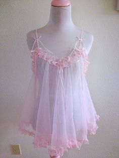 Vintage 1960's Pink Babydoll Lingerie Chiffon Lace Cute by Perurus, $20.00