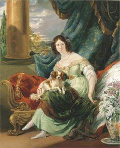 Portrait of Charlotte, Countess de la Bourdonnaye by George Hayter, 1830 Paris multiple sleeve puffs King Charles Dog, King Charles Spaniel, Cavalier King Charles, Old Paintings, Beautiful Paintings, Dog Blanket, Lap Dogs, Watercolor Sketch, Portrait Art