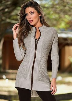 Cream Faux Leather Trim Cardigan from VENUS women's swimwear and sexy clothing. Order Cream Faux Leather Trim Cardigan for women from the online catalog or Casual Fall Outfits, Classy Outfits, Venus Clothing, Women's Clothing, Basic Leggings, Latest Fashion For Women, Womens Fashion, Sweater Sale, Winter Coats Women