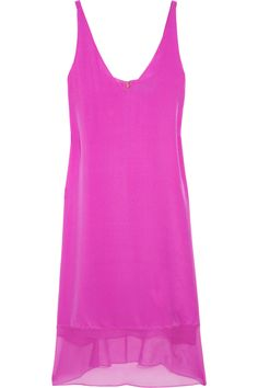 Tibi|Hot Pink Silk-crepe and chiffon dress|NET-A-PORTER.COM