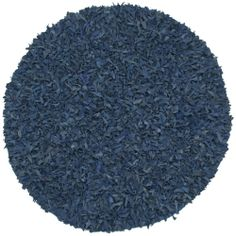 Hand-tied Pelle Blue Leather Shag Rug (4' Round) | Overstock.com