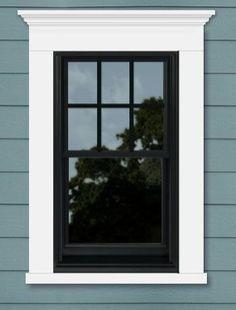 25 Astonishing Eksterior & Interior Window Trim Ideas for Your Dreamed House! - Home Decor Ideas Exterior Window Molding, Interior Window Trim, Exterior Trim, Exterior House Colors, Exterior Design, Window Molding Trim, Black Trim Exterior House, Black Trim Interior, Black Windows Exterior