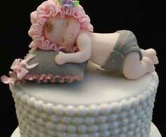 Beautiful Baby Girl or Baby Boy sleeping over a pillow Cake Topper, This babies can be use Cake Decorations and Centerpieces Great for Baby Shower, Baptism or Christening Cake Decoration Each Baby App                                                                                                                                                      More