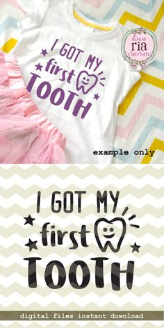 I got my first tooth, cute baby's tooth milestone digital cut files, SVG DXF files for cricut, silhouette cameo, diy vinyl decal First Tooth, Silhouette Cameo Projects, Vinyl Projects, I Got This, Vinyl Decals, Sticker, Cute Babies, Cricut, Party