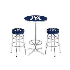 New York Yankees MLB Pub Table and Barstool Set (3 Piece Set)
