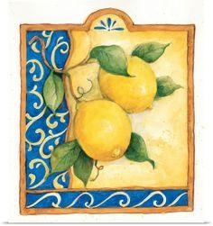 Susan Winget Poster Print Wall Art Print entitled Tuscan Lemon, None Wall Art Prints, Poster Prints, Framed Prints, Canvas Prints, Big Canvas, Lemon Curd Dessert, Tuscan Home Decorating, Lemon Art, Posters Vintage