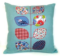 Vintage Fabric Applique Leaf Pillow- Teal and Red 1
