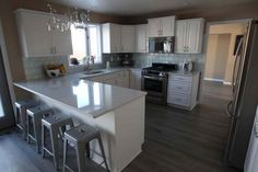laminate floor with white cabinets - Google Search