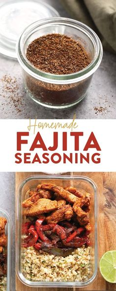 Make your own all-purpose fajita seasoning at home with just 6 basic spices! You… Make your own all-purpose fajita seasoning at home with just 6 basic spices! You can use our homemade fajita seasoning recipe on chicken, steak, veggies, in soup and more. Fajita Seasoning Packet, Fajita Mix, Homemade Fajita Seasoning, Fajita Recipe, Vegetable Seasoning, Seasoning Mixes, Kitchens