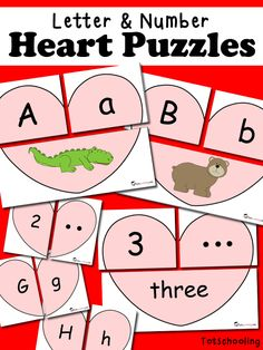 These FREE printable Heart Puzzles are perfect for preschoolers to practice letters and numbers while celebrating Valentine's Day. This pack includes four d