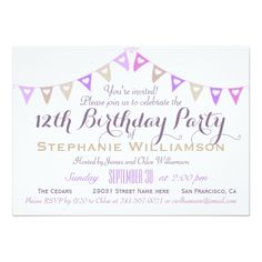 12th Birthday Party Pastel Bunting Card