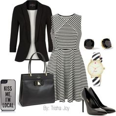"""""""Black & White Work Outfit"""" by xcherishmex on 