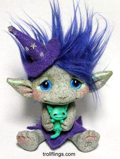 OOAK Trollfling Troll Starry Witch doll Carmen and Froggie by Amber Matthies THE TROLLFLINGS