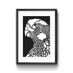 nice Alahna Fiveash Budgie black&white; print