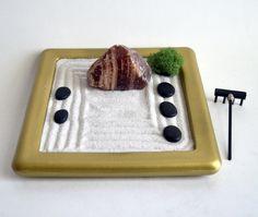 mini zen garden viewing stone sardonyx desk accessory meditation rock garden crystal zen gold office decor motivation