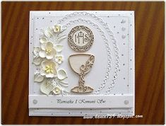hania739: Pamiątka I Komunii Św. First Communion Cards, First Communion Invitations, Baptism Gifts, Quilling Cards, Fabric Scraps, Scrap Fabric, Kirigami, Love Cards, Keepsake Boxes