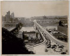 """F. Ross Altwater, """"(Bridges: Overview of Liberty Bridge and Traffic Circle)"""",1938, Gift of the Carnegie Library of Pittsburgh"""