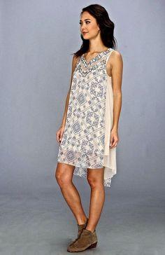 NWT $168 Free People Ancient Mystery Dress ivory blue beaded chiffon hi lo hem S #FreePeople #beadedchiffondress #Casual