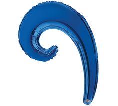 "#burtonandburton 14"" Air-filled Royal Blue Kurly Wave balloon.<br>Air-filled balloon. Cup and stick included."