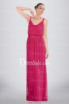 Fantastic Full Length Chiffon Bridesmaid Dress Featuring Cowl Neckline
