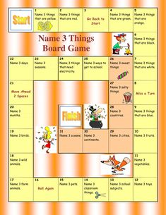 Board games 86905467795255838 - Name 3 things Board Game .This easy Board Game is ideal to revise or enhance students´ vocabulary.Especially suitable for smaller groups or one-on-one classes…. Source by sflamm English Games, English Activities, Learning Activities, Activities For Kids, Articulation Activities, Therapy Activities, Speaking Games, Grammar Games, Vocabulary Games