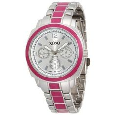 XOXO   XOXO Women's XO111 Silver Dial Silver-tone and Pink Enamel Bracelet Watch