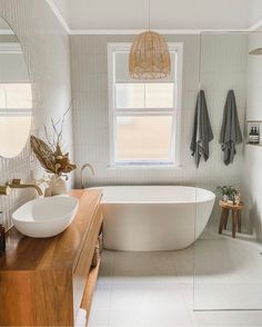 A beautiful bathroom to inspire us all. Using our Albert Park tiles in Full white on the wall and Redfern in white on the floor. Bathroom Renos, Laundry In Bathroom, Small Bathroom, Washroom, Bathroom Goals, Bathroom Inspo, Decor Inspiration, Bathroom Inspiration, Bathroom Interior Design