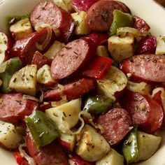 Hillshire Farm Sausage and Potato Bake @keyingredient #chicken #vegetables