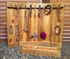 """Jewelry Organizer Jewelry Display Organizer Western Panel made of reclaimed rustic cedar """"Patent Pending"""" - Jewelry Booth, Jewelry Show, Kids Jewelry, Jewelry Stand, Beach Jewelry, Jewelry Holder, Jewelry Necklaces, Jewelry Design, Clean Gold Jewelry"""