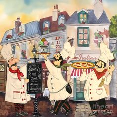 Metaverse Italian Chefs Ii by Jean Plout Canvas Art Italian Chef, Italian Bistro, Italian Art, Vintage Italian, Canvas Artwork, Canvas Prints, Wall Paintings, Kitchen Art, Chef Kitchen