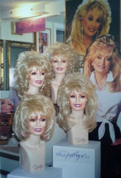 Dolly Parton Wigs Collection as displayed at the Wig Salon