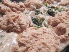 Chicken Alfredo Casserole with Buttermilk Biscuits