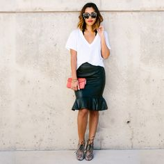 Leather skirt and a white tee. Simple yet, chic!