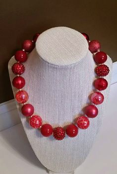 Red Chunky Necklace, Bubble Gum Necklace, Bubblegum Necklace, Kids Jewelry…