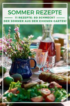 Sommer Rezepte: An einem perfekten Sommertag wird natürlich auch unter blauem Himmel gespeist. Wir haben köstliche Sommerrezepte für leichte Gerichte und kühlende Getränke für Sie zusammengestellt, die Sie schnell und mit frischen Zutaten aus dem Garten selbst zubereiten können. Auf geht's! Pickles, Cucumber, Food, Summer Decorating, Heaven, Foods, Meal, Essen, Pickle
