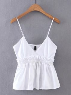 Simple Cheap Chic, Shop V-Cut Frill Trim Cami Top online. Cute Summer Outfits, Casual Outfits, Cute Outfits, Fashion 2020, Girl Fashion, Fashion Outfits, College Outfits, Cami Tops, Blouse Styles