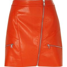 River Island Red leather look zip mini skirt (115 SAR) ❤ liked on Polyvore featuring skirts, mini skirts, bottoms, river island, red, sale, women, faux leather mini skirt, orange mini skirt and high waisted mini skirt