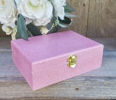 Pink and Glitter SHABBY CHIC Small wood Trinket box, Keepsake box