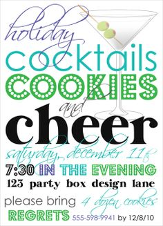 Holiday Cocktails and Cookies-Holiday Cocktails and Cookies Holiday Party Invitation