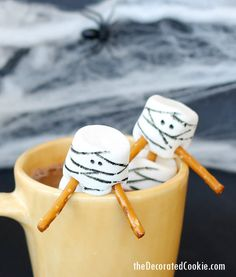 Add some mummy marshmallows to your hot cocoa this Halloween.  It's still way too warm in Washington DC, but I'm picturing cool weather and a crisp Halloween evening. Wishfully thinking. As soon as I can, I'll bring on the hot cocoa. or hot chocolate, whatever. And to get in the scary spirit of Halloween,...Read More »