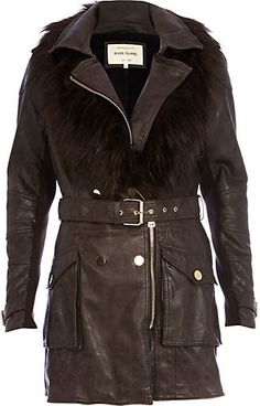 River Island Brown Faux Fur Collar Trench Coat