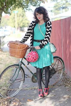 colorful dress, b/w sweater, tights, bright shoes