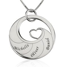 Sterling Silver Engraved Name Mother's Swirl Heart Necklace – Sparkle