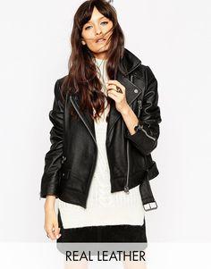 Image 1 ofASOS Leather Biker Jacket in Boxy Fit