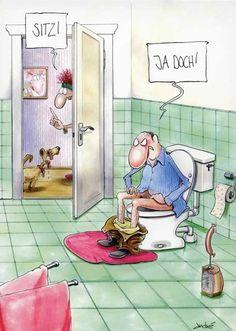 Lustige Cartoon Postkarten – Sitz! postkarten cartoon