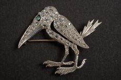 18 K White Gold,  Old Mine Cut Diamond, Emerald Stork Crane Brooch. Crane or Stork? Don't Think So.