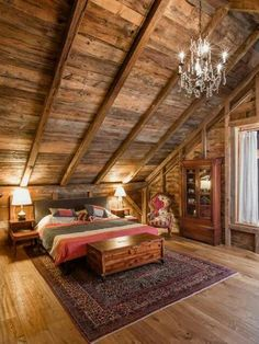 Vaulted glam in the cabin. Rustic Cabin Bedroom by Silver Maple Construction LLC Log Cabin Homes, Log Cabins, Log Cabin Bedrooms, Log Cabin Interiors, Loft Bedrooms, Diy Cabin, Barn Homes, Cabin Ideas, House Ideas