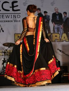 Red and black lehenga - the blouse design Indian Attire, Indian Ethnic Wear, India Fashion, Asian Fashion, Pakistan Fashion, Ethnic Fashion, Fashion Beauty, Women's Fashion, Indian Dresses
