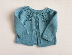 Aqua wool & cotton baby cardigan, pretty lace yoke, girl's sweater size 6 to 9 months, knitted with natural fibres - girls woollen cardigan Baby Girl Sweaters, Baby Cardigan, Hand Knitting, Ready To Wear, Aqua, Wool, Natural, Lace, Pretty