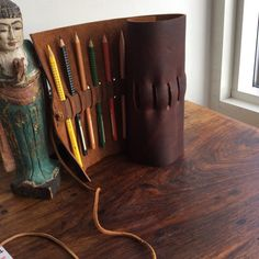 Leather roll pencil roll pen case pencil by LUSCIOUSLEATHERNYC